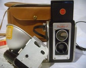 Vintage Kodak Duaflex II Camera with Flash, Includes Case and Flashbulbs and letter to previous owner, circa 1950s