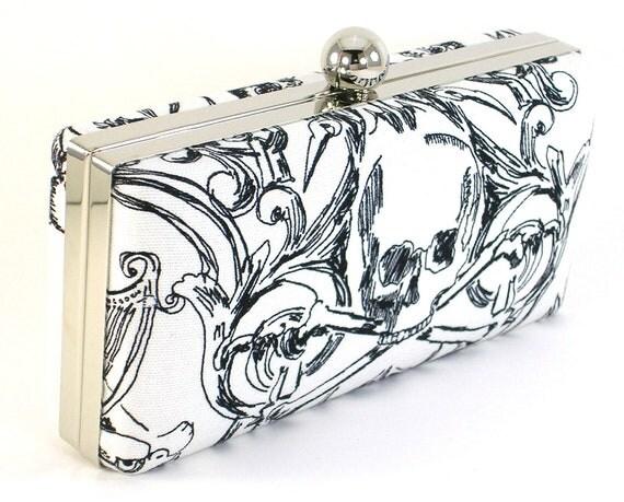 Black and White Skull Clutch Handbag by Bagboy - White