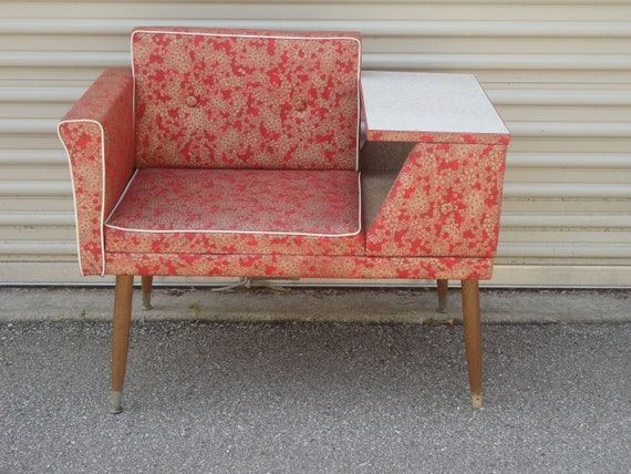 RESERVED For Leslie 50's Telephone Gossip Bench Chair Atomic Retro Red