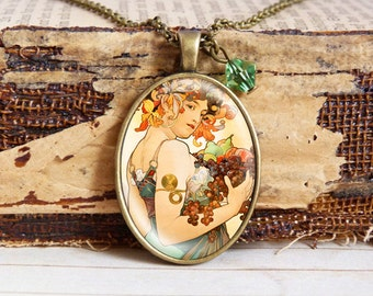 Mucha Fruit - Vintage Necklace