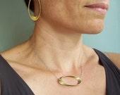 Modern Jewelry. Gold Ellipse on Sterling Silver. Mixed Metal Geometric Jewelry