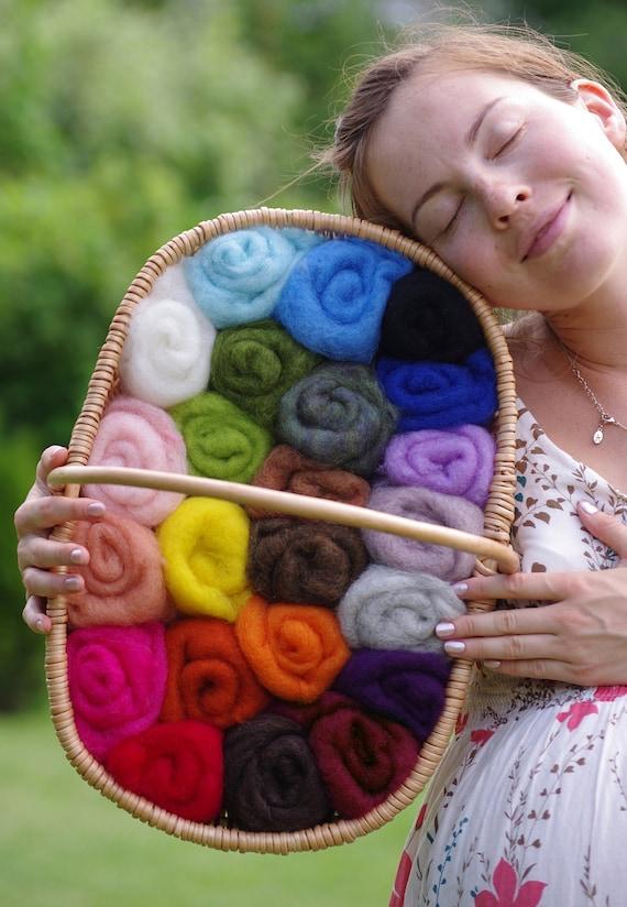 12 oz (340 grams) Huge Pack, Wool for Felting, Wool Roving / Carded Batt, 23 colors, FREE SHIPPING WORLDWIDE
