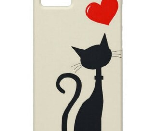 Personalized iPhone 5 or iPhone 6 Case- Black Cat
