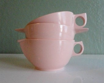 Pink Melmac Sugar, Creamer and Cup 1950s