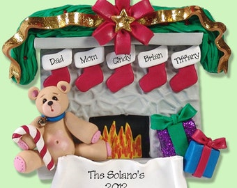 Fireplace w/Bear Family of 5 HANDMADE POLYMER CLAY Personalized Christmas Ornament