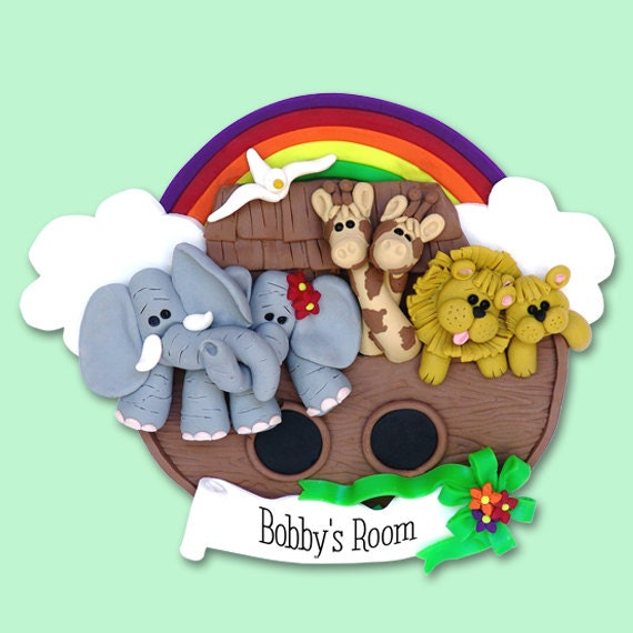 NOAH'S ARK Family or Children's HANDMADE Polymer Clay Personalized Christmas Ornament