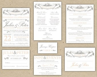 Vintage Wedding Invitation Collection -Printable DIY. printed country chic (1053)