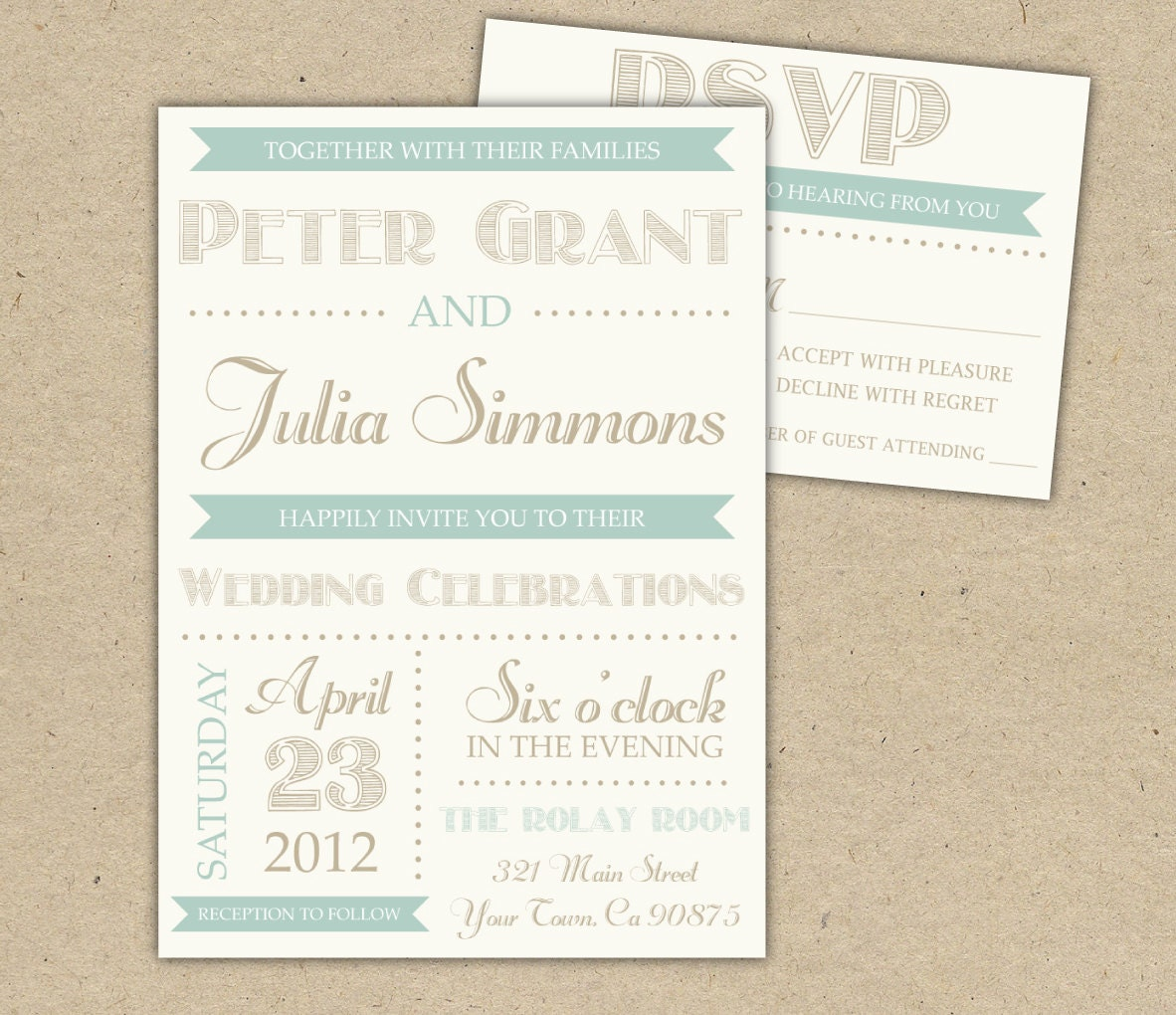 Vintage Wedding Invitation DIY Printable Template Printed
