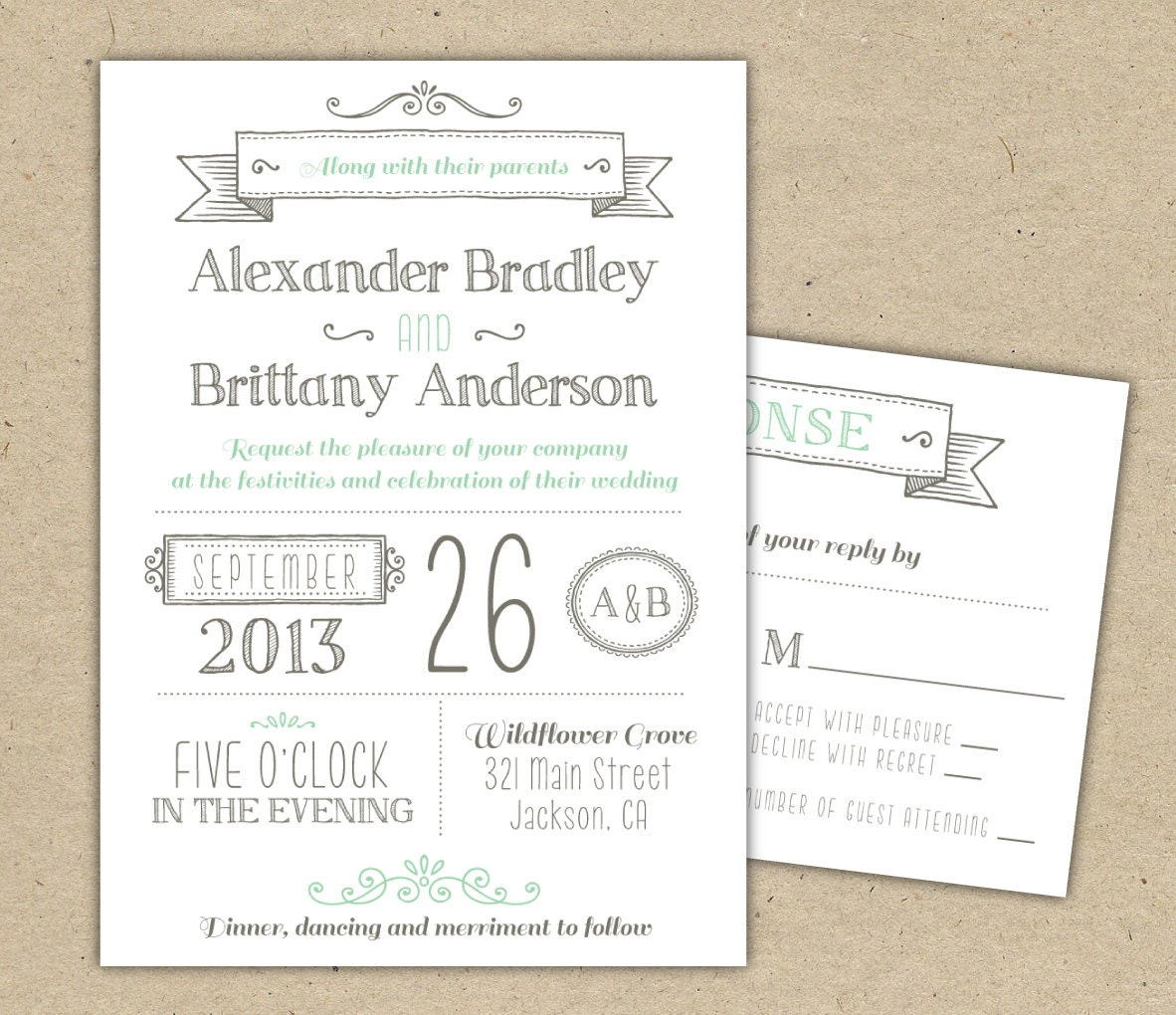 Wedding Invitation 1041 SAMPLE. Modern Invitation Template