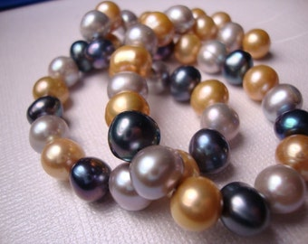 "BiG Silver-Grey-Gold Freshwater Pearls  - 8-9mm  - Full 14"" Strand -  LAST IN SHOP"