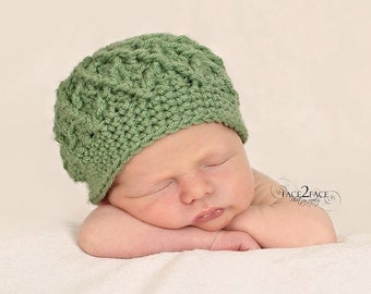 Textured diamonds beanie hat for boys or girls - newborn size - made to order