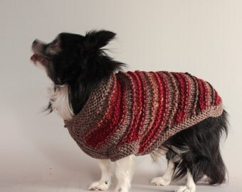Taupe and Red Garter Ridge Stripes Dog Sweater, Small