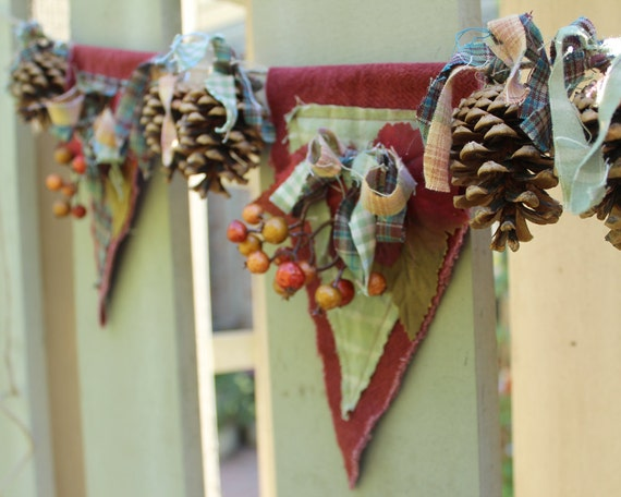 Rustic Autumn Banner with Fabric, Pine Cones, Leaves, Berries
