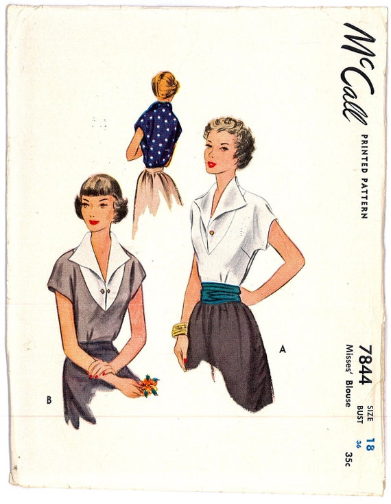 1940s FACTORY FOLDED Womens Blouse Vintage Rockabilly Swing Pin Up Sewing Pattern McCall 7844 Bust 36