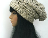 Winter Slouchy Beanie Winter Style Beret tams Snood Beanie Headwarmers Women Teens Adults In Oatmeal.