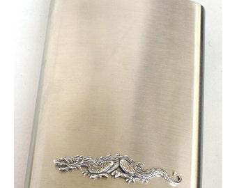 Steampunk - DRAGON Flask - Men Women - Brushed Stainless Steel Metal - 8 oz - Antique Silver - Groomsman Gift - GlazedBlackCherry