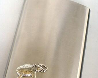Steampunk - STOMPING ELEPHANT Flask - Men Women - Brushed Stainless Steel Metal - 8 oz - Antique Silver - Groomsman Gift - GlazedBlackCherry