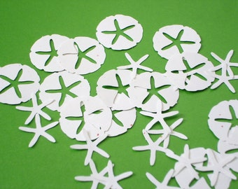 50 Stardust White Sand Dollar Starfish punch die cut confetti embellishments - No781