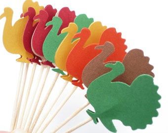 24 Turkey Cupcake Toppers, Thanksgiving party decorations - No548