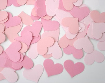 100 Mixed Pink Heart punch die cut confetti scrapbook embellishments - No428