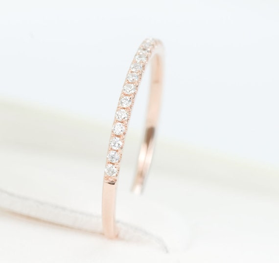 CERTIFIED - E-F , VVS - VS Diamond Half Eternity Wedding Band 14K Rose Gold - Sale