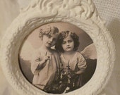 Shabby White Oval Framed Vintage Siblings