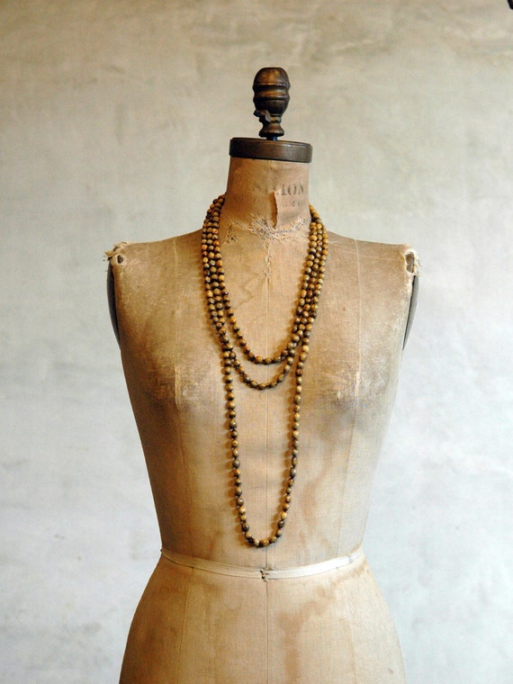 Vintage Natural Bead Necklace / Long Bead Strand