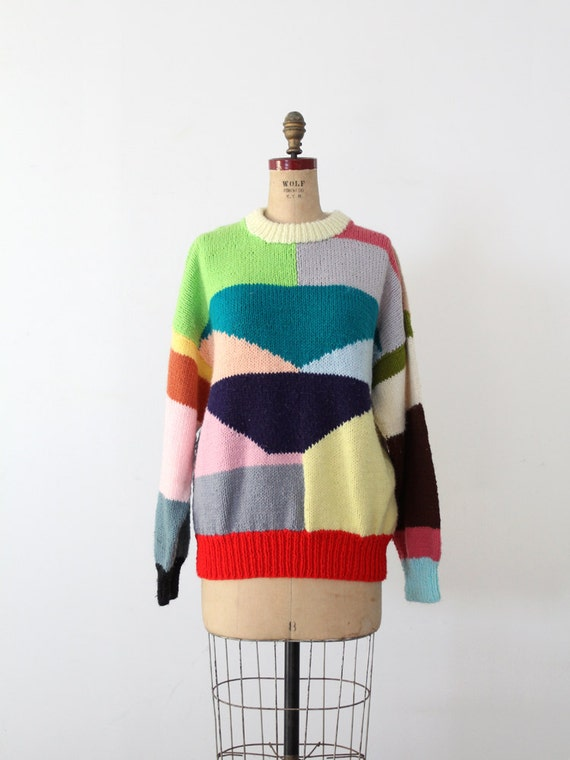 Vintage Sweater / 1980s Colorful Print Sweater