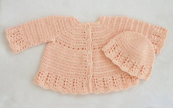 Crocheted Baby Girl Lacy Coat-Like Sweater and Hat Set in Light Salmon, 3M-6M