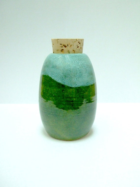Emerald green corked herb jar