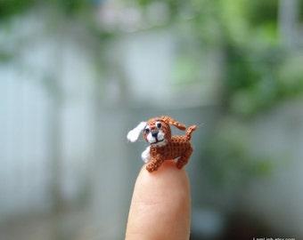0.4 inch crochet brown dog - micro amigurumi animal