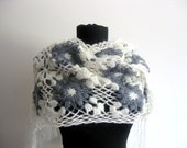 Free shipping-Ready to ship-Gray and Cream Mohair Scarf Shawl