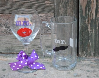 PERSONALIZED Glass Beer Mug & Wine Glass - Perfect for the lucky COUPLE