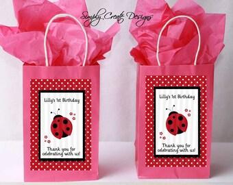 Ladybug Favor Tag DIGITAL FILE 4x6 Jpeg Digital File Personalized