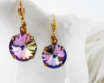 Earrings Crystal Purple Lilac Swarovski Rivolii Crystal Elegant old hollywood weddings bridal