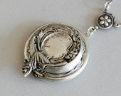 Moon Goddess Locket,Locket,Necklace,Silver Locket,Silver Moonbeam Locket  Necklace,Antique Locket. ,Wedding,Bridal Jewelry,Bridesmaids Gift