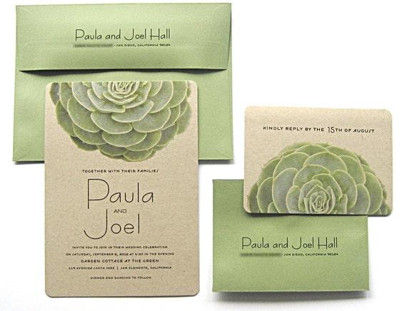 succulent wedding invitations kraft paper modern garden, Wedding invitations