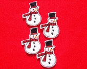 SNOWMAN With Red Scarf 4 Machine Embroidered Felt Embellishments /  Appliques - Ready To Ship