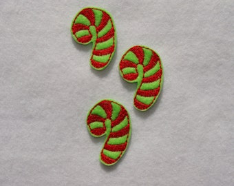 CANDY CANE - 3 Machine Embroidered Felt Embellishments / Appliques ~ Ready To Ship