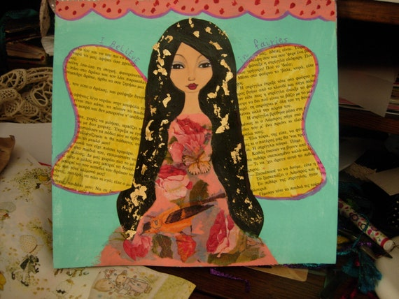 I Believe In Fairies -Original mixed media painting and collage on watercolor paper by a Pink Dreamer