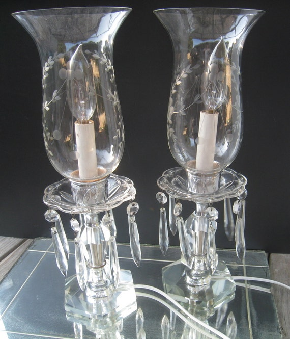 Vintage Etched Crystal Boudoir Lamps with Glass Prisms and Hurricane shades
