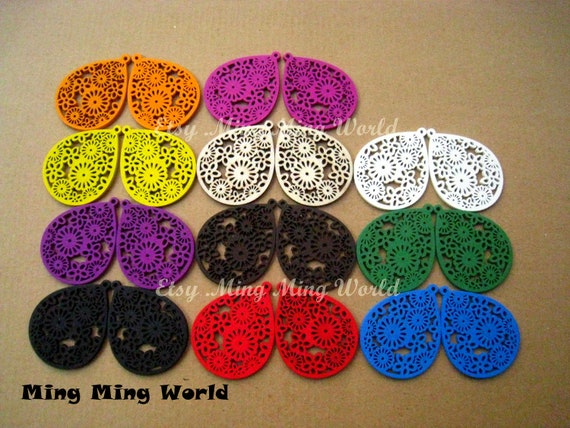 Wood Pendant -11 Pairs Hollow Out Colorful  For Earrings,Jewelry Supply,Woodchilps Embroider.