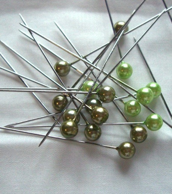 "Set of 12 Greens Avacado Lime Chartruse Floral Bridal Hat Pin Scrapebooking Stick pins 2"" Long"
