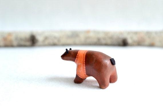 orange sweater bear - clay miniature bear figurine
