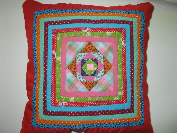 Vintage ,Quilt ,Blue and Red  Pillow Cover 13x13 inches