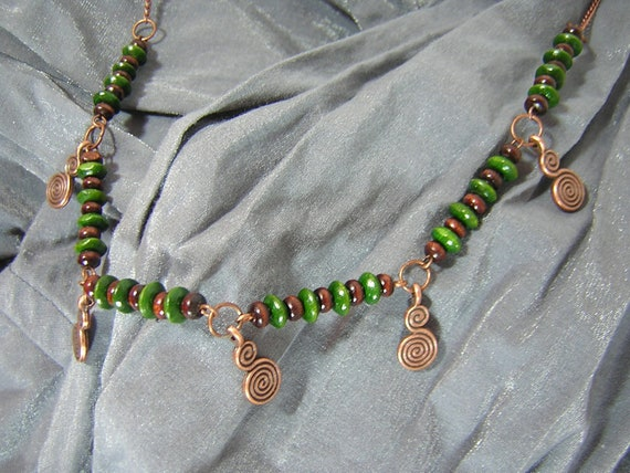 Green and Brown with Copper Swirl Charms Handmade Necklace by Rewondered