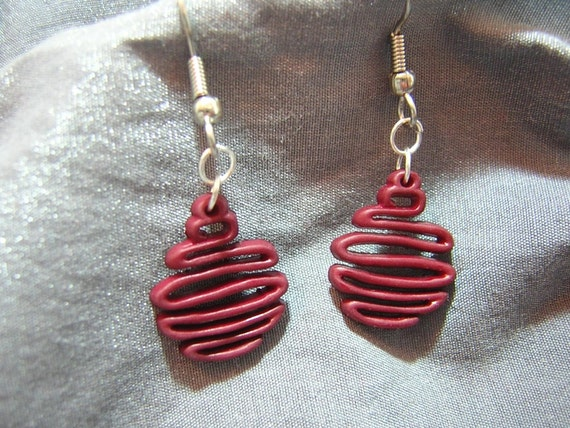 Scribble Christmas Ornament Earrings - Handmade by Rewondered D225E-55517 - $6.95