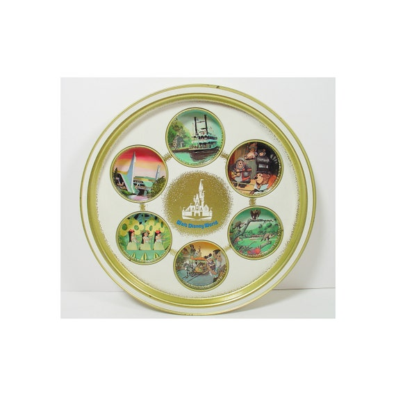Disney Tin Tray - Vintage Walt Disney World Round Serving Dish