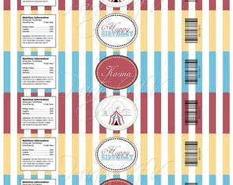 "PRINTABLE (Water Bottle Wraps) - ""Old Time"" Carnival Collection- Vintage Design"