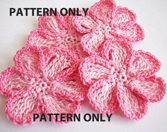 Crochet Flower Pattern - 6 Petal Trimmed, Flat Pattern - Instant Download
